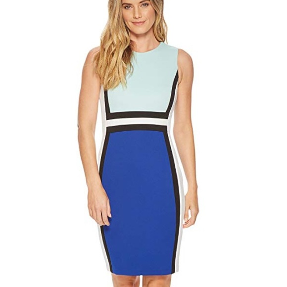 156b9faea07 Calvin Klein color block scuba sheath dress